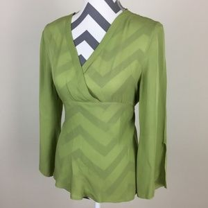 Allison Taylor Green 100% Silk Blouse